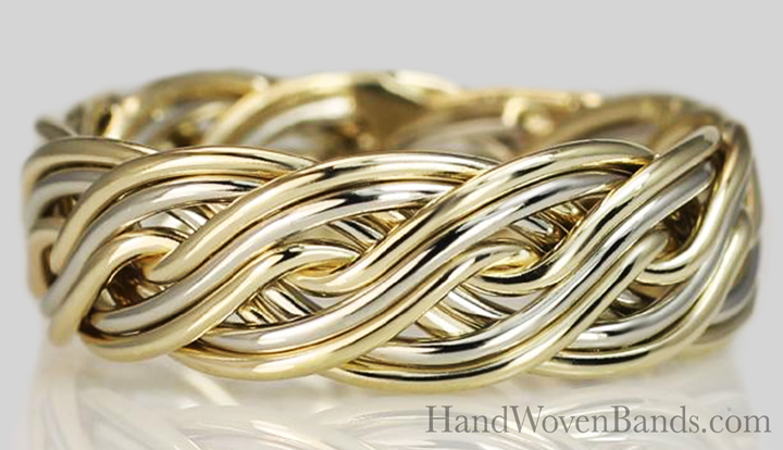 This is a braided wedding ring woven with ten wires and two-tones. Handmade by Todd Alan with two colors braided together.