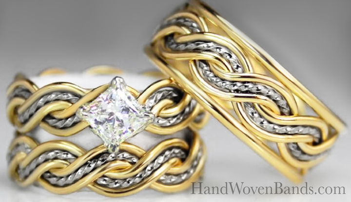 This is a braided engagement ring and braided wedding ring set using our six strand open weave braid made in two-tone. It is set with a .33ct princess cut diamond in a uniquely set way.