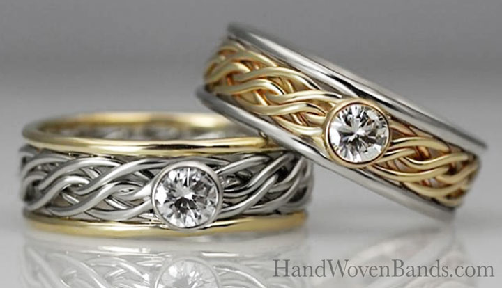 Two engagement rings set with diamonds. Both are braided rings or braided engagement rings. They are reversed two-tone rings and both in the six strand..