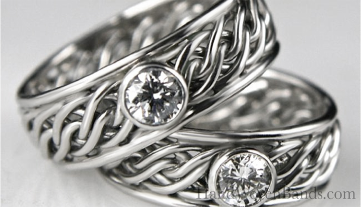 This is a unique platinum braided wedding ring set. Both rings are set with a bezel set diamond in our six strand open weave braid.