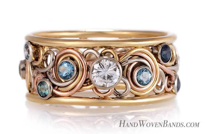 This mothers ring is made using our rainbow ring as a base. That is three different colored wires in a tri-tone ring affect. Then we added gemstones and birthstones from all her children mounted in her ring in a bezel setting. A completely unique mothers ring .