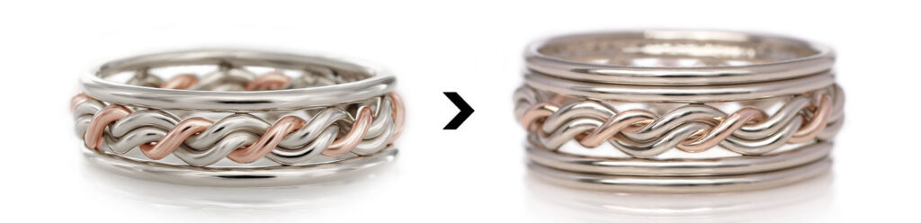 A diagram showing adding diamond outer bands to one of Todd Alan's signature braided wedding rings. This braided ring is in 14k white gold and a single wire of 14k rose gold.