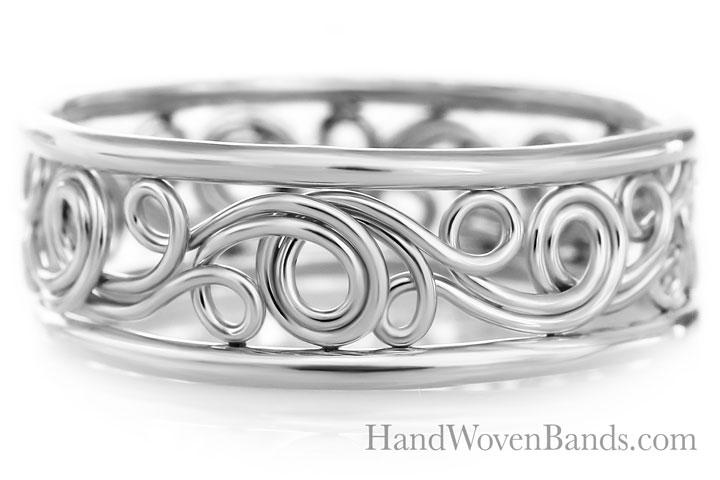 Unique Swirl ring Handmade by Todd Alan in platinum