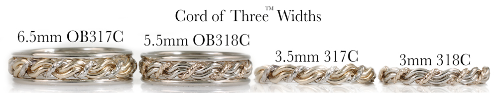 A cord of three wedding ring showing all the different widths of the ring